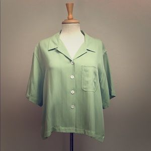 Tommy Bahama Sage green silk button down short top